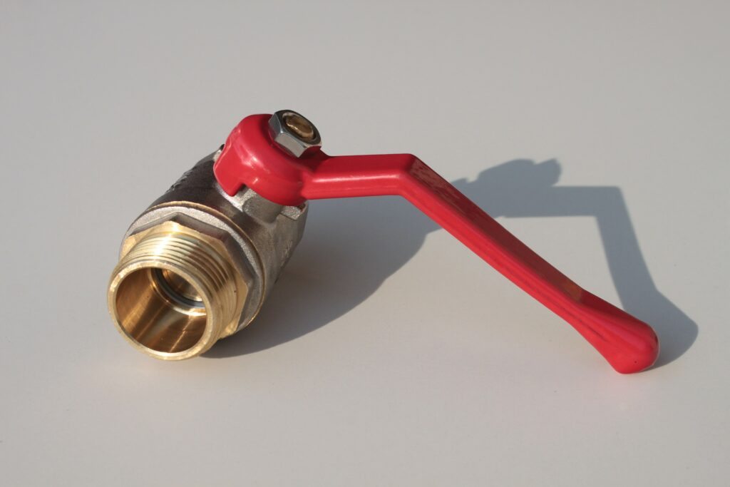 metal seated ball valve with red handle